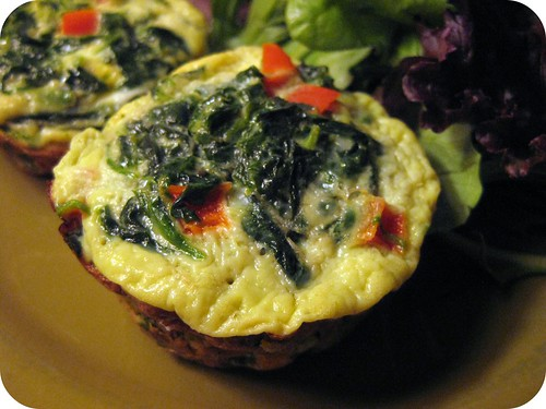Mini spinach and goat cheese frittatas