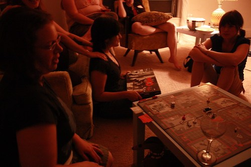 Ann and Kristi play Hitchcock Clue