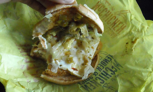 McDonald's Jalapeño Cheddar McChicken Pulling Off Its Top