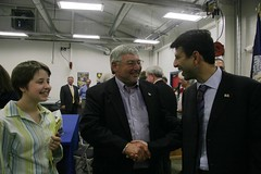 Jennifer Reed and Reggie Skains meet Gov Jindal at Ouachita HS