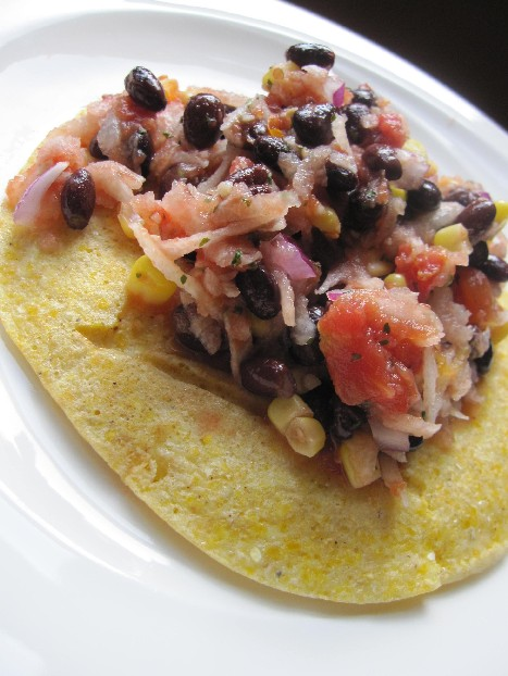 Black Bean, Corn and Jicama Salsa on top of Corn Cakes
