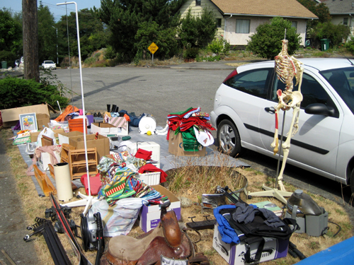 Yard sale with skeleton