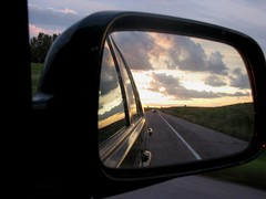 Sunsetting in Rearview Mirror, South Dakota