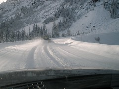 SR 20 Driving through snow to assess avalanche...