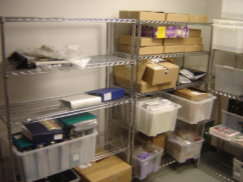The storage room also houses designers projects that have already been photographed in the studio and are waiting to be mailed back.