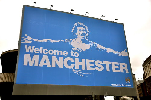 """manchester city's provocative """"welcome to manchester"""" billboard"""