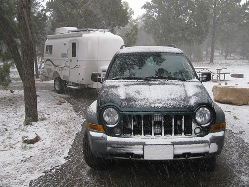 Jeep Liberty & Oliver Trailer in the Grand Canyon Snow