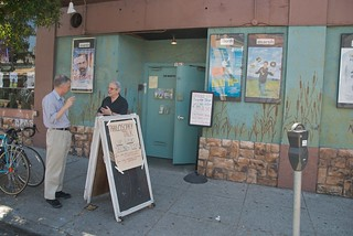 Merle Kessler (Ian Shoales) outside the Philos...