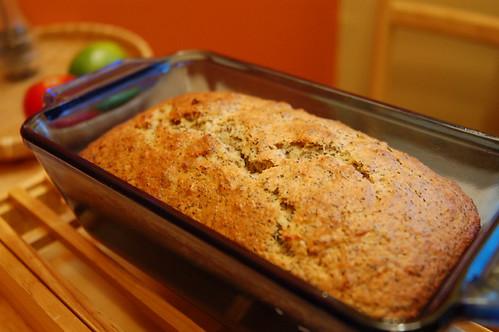 lemon poppyseed banana bread baked