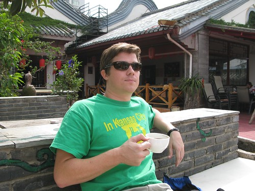 John, during our first morning in Kunming, enjoying a cup of coffee at the Hump Hostel