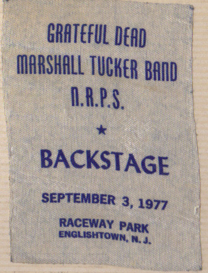 Backstage pass used by Steve Lubetkin at Grateful Dead concert, 9/3/1977