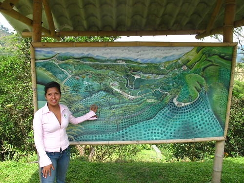 Diana Carolina and a map of the Finca