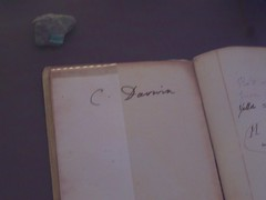 Signature in a geological notebook