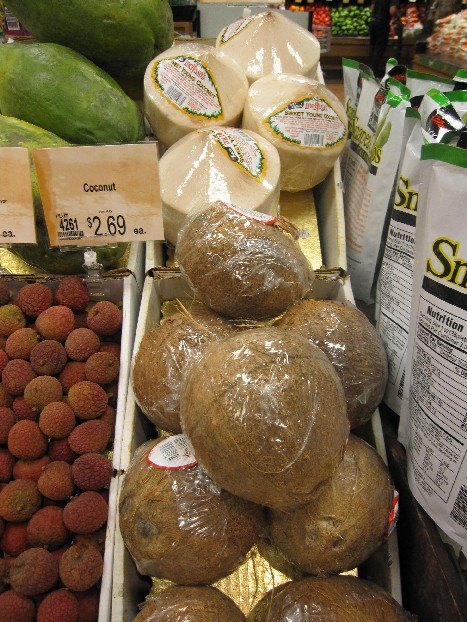 Young Coconuts and Coconuts in the Produce Section
