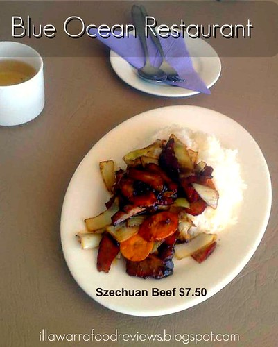 Illawarra Food Reviews: Szechuan Beef with boiled rice $7.50 from Blue Ocean by you.