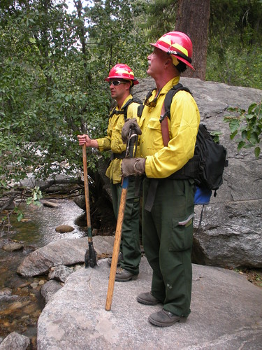 While enjoying a nice day of climbing, these fire rangers come by to usher us out of the canyon because a wild fire was rolling down.