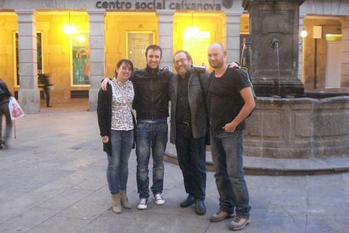 Entre amigos en Santiago: Rho Dourado, Paulo Martínez Lema, Chesús Yuste y Xan Teixeiro