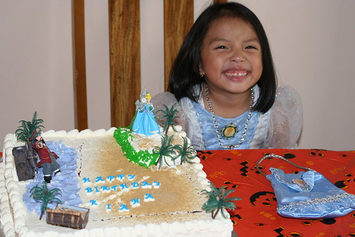 bday girl w/her cake made by mum