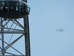 London Eye with airplane