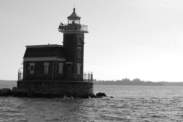 Stepping Stones Lighthouse B&W