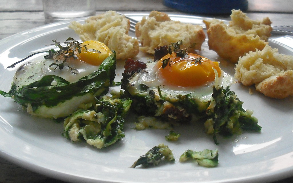 scape and spinach eggs - breakfast