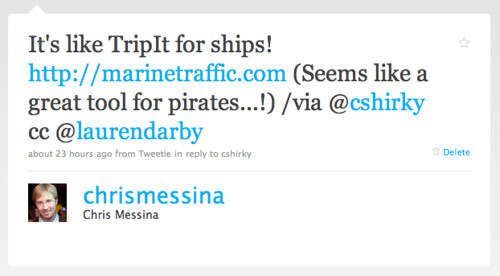 Twitter / Chris Messina: It's like TripIt for ships ...