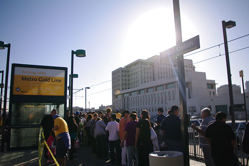 Crowds of people headed to both Pasadena and East L.A. filled the platform at Union Station.