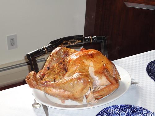 stuffed turkey on table