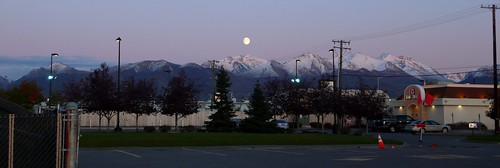 Moonrise over Chugach Mtns. and highway trash.