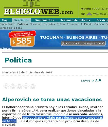 ElSigloWeb.COM - Tucumán - Alperovich se toma unas vacaciones