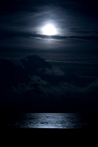 full moon on the ocean