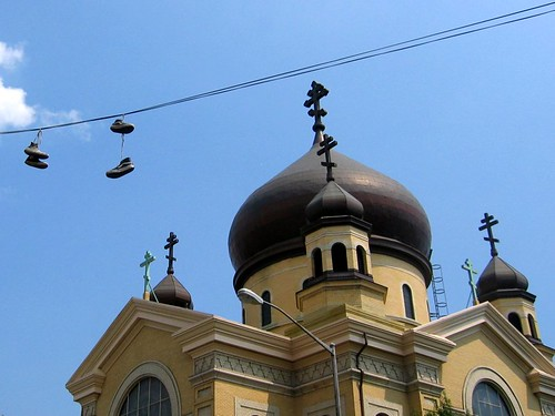 Shoes hanging on a telephone wire by the Russian Orthodox Church near my apartment.