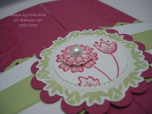 Hochzeitskarte Rosenrot Detail