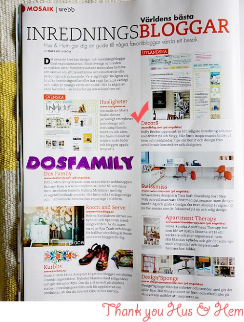 Thanks Hus & Hem Magazine!