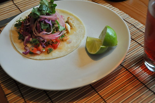 Fish Tacos with Spicy Salsa and Pickled Onions