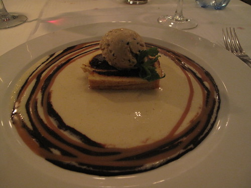Soft and tender Chocolae Biscuit, creme anglais - man this picture is dark