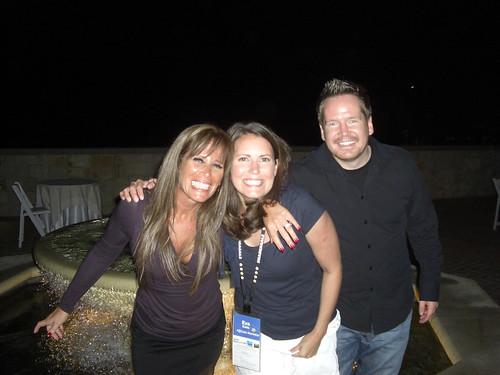 Missy Ward, Eva Klein and Jeremy Palmer in a fountain