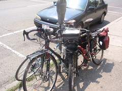 Plenty of empty parking spaces but few empty meters.  There were 3-4 bikes were locked to each parking meter.