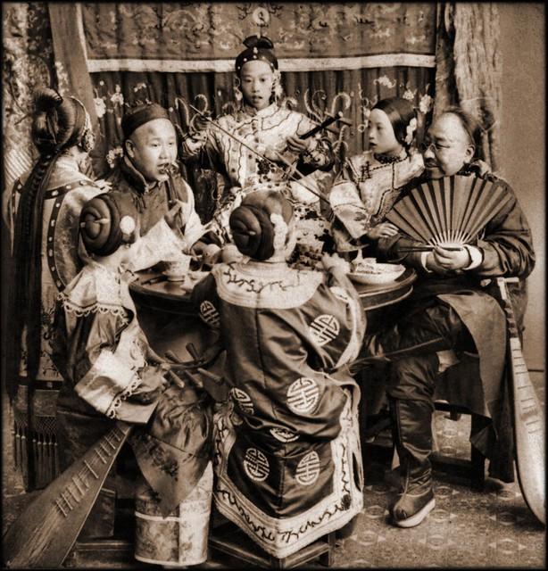 Rich Merchants Dining With Singing Girls, Pekin, China [c1901] Benjamin W. Kilburn [RESTORED]