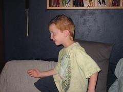 M poses like Astro Boy