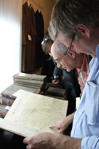 Looking at old maps in the Hustisford museum