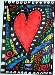 Heart Fragments Doodle ATC