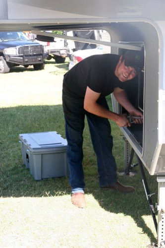 James fixing the ice maker.
