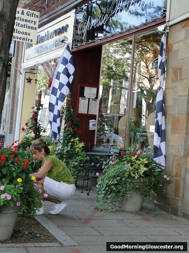 Annette At Espresso Tends Her Flower Pots