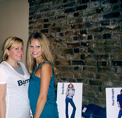 Karyn & I in front of the Denim Wall