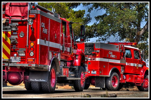Fire trucks at Hogan Lake