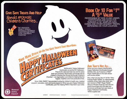 McDonald's Happy Halloween Certificates