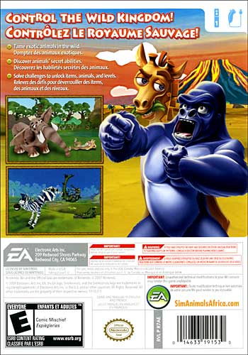 SimAnimals Africa Wii - back box art cover