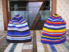 two stripey hats