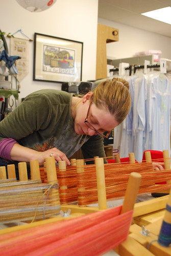 Using the Warping Board in a Weaving Class at The Net Loft